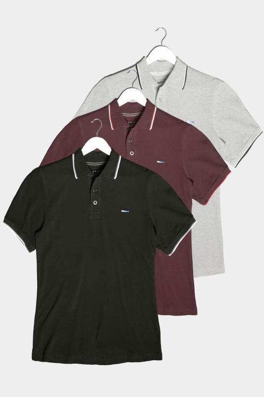 BadRhino Multi 3 Pack Tipped Polo Shirts