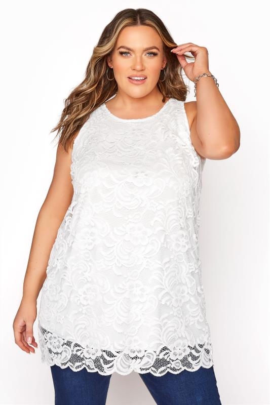YOURS LONDON White Lace Shell Top