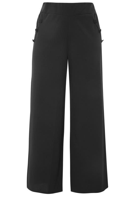 Plus Size  YOURS LONDON Black Button Scuba Crepe Wide Leg Trousers
