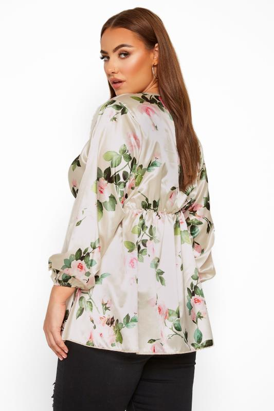 LIMITED COLLECTION White Satin Floral Top