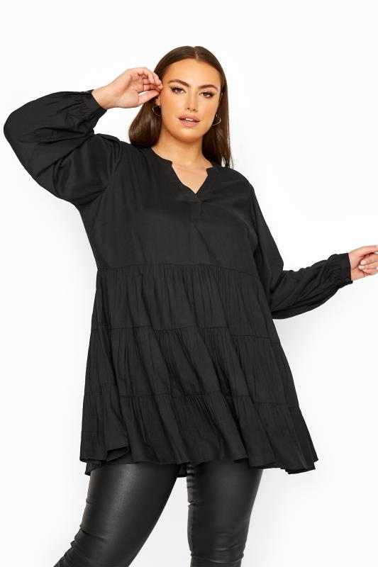 LIMITED COLLECTION Black Tiered Smock Blouse