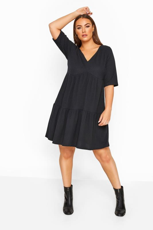 Plus Size Black Dresses LIMITED COLLECTION Black Ribbed Tiered Smock Dress