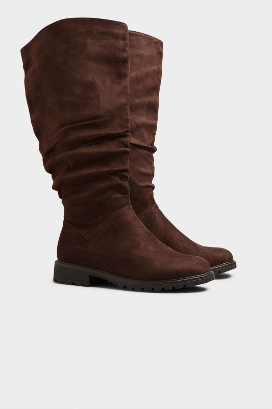Chocolate Brown Ruched Cleated Boots In Regular Fit_C.jpg