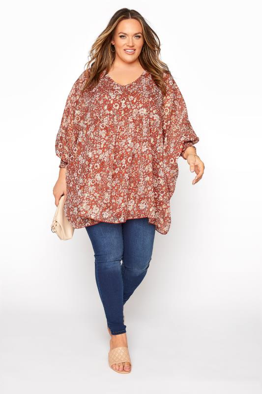YOURS LONDON Rust Floral Batwing Sleeve Blouse_C.jpg