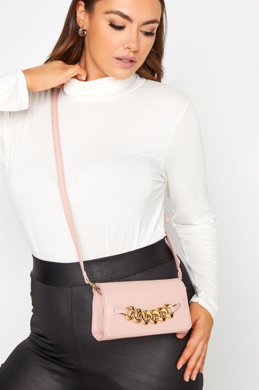 Pink Croc & Gold Chain Mini Bag