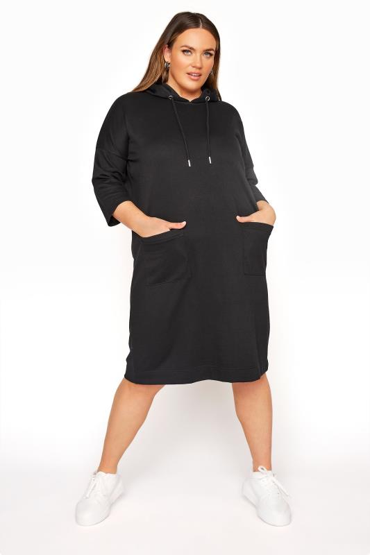 Plus Size  Black Longline Hoodie Dress