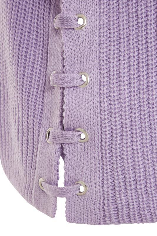 Lilac Purple Tassel Sleeve Chunky Knitted Jumper_D.jpg