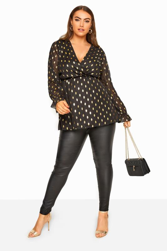 YOURS LONDON Black Foil Spotted Chiffon Wrap Top