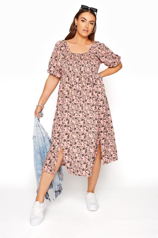 Pink Floral Shirred Front Split Hem Midi Dress_B.jpg