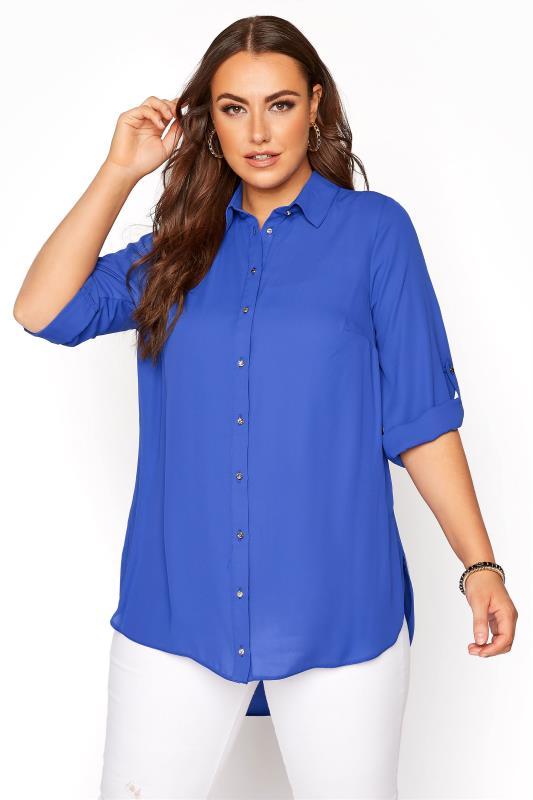 Plus Size  Cobalt Blue Oversized Chiffon Shirt