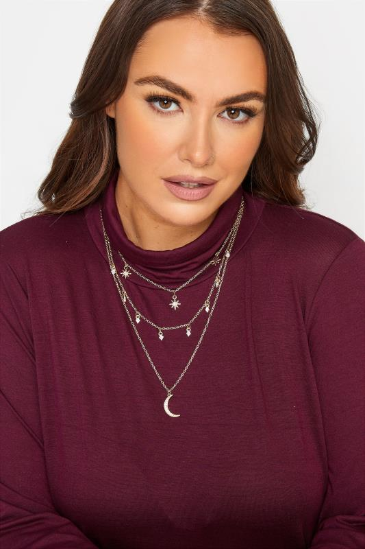 Plus Size  Gold Tone Sun & Moon Triple Chain Necklace