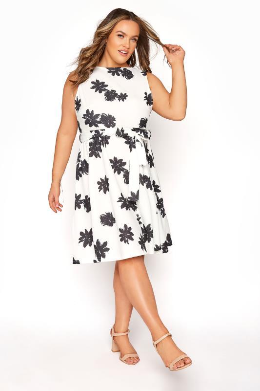 Plus Size  YOURS LONDON White Floral Wrap Skater Dress