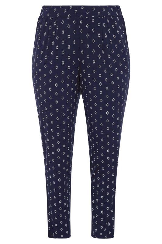 Plus Size  Navy Deco Diamond Pleated Harem Trousers
