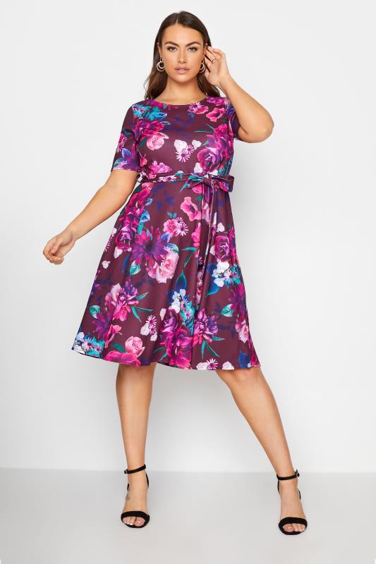 Plus Size  YOURS LONDON Purple Floral Skater Dress
