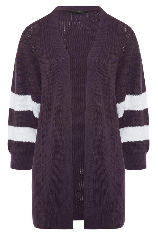 Purple Varsity Stripes Knitted Cardigan_F.jpg