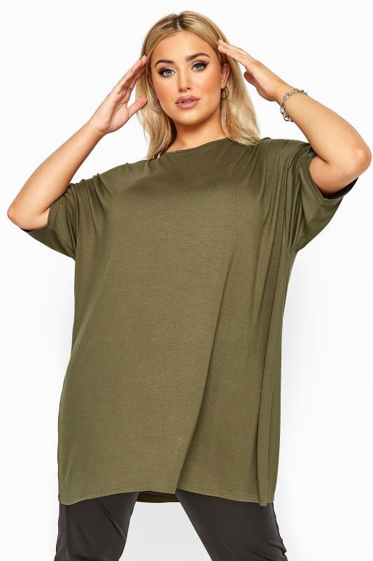 Plus Size  Khaki Jersey Oversized T-Shirt