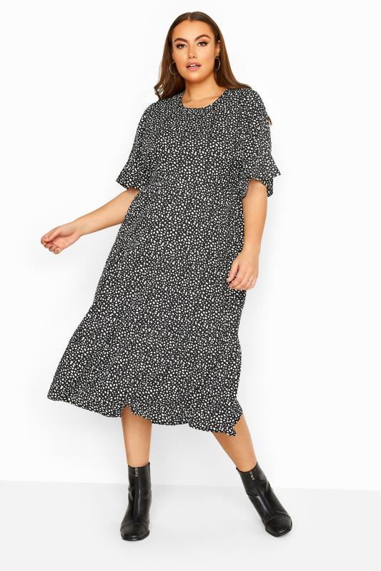 LIMITED COLLECTION Black Dalmatian Spot Tiered Midi Dress