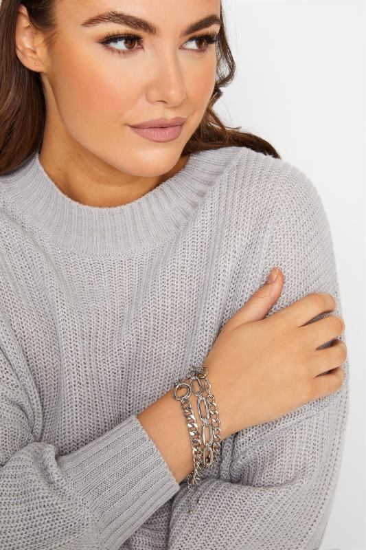 Plus Size  3 PACK Silver Tone Mixed Chain Bracelets