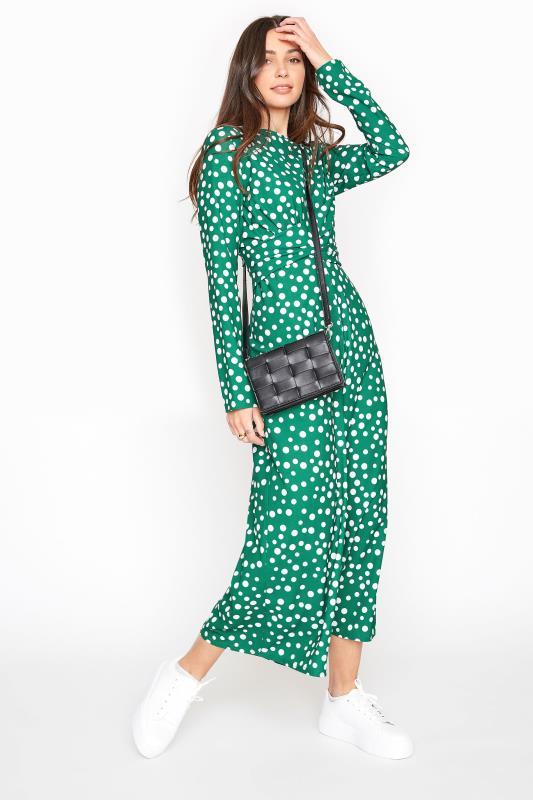 LTS Green Polka Dot Twist Front Jumpsuit