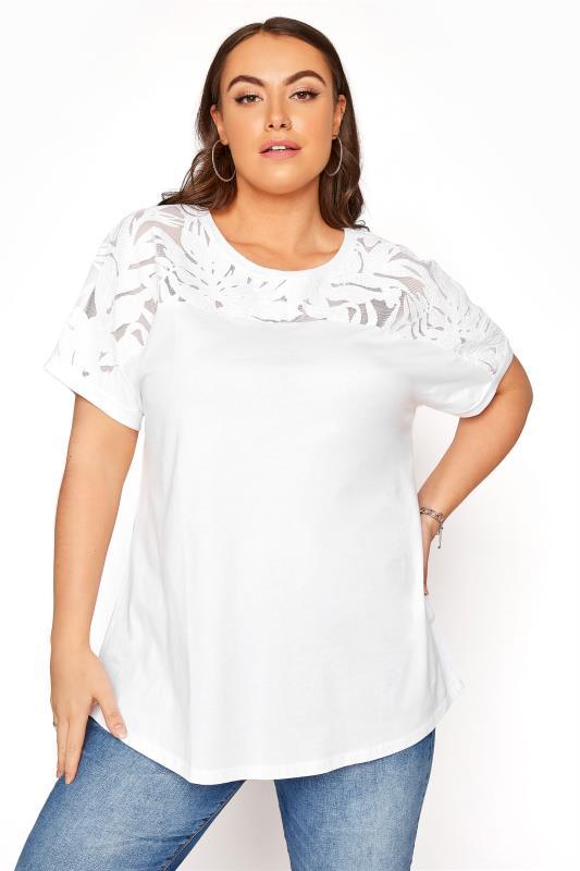 Plus Size  White Burnout Yoke Top