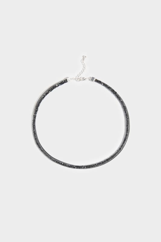 Black Glitter Gem Choker Necklace