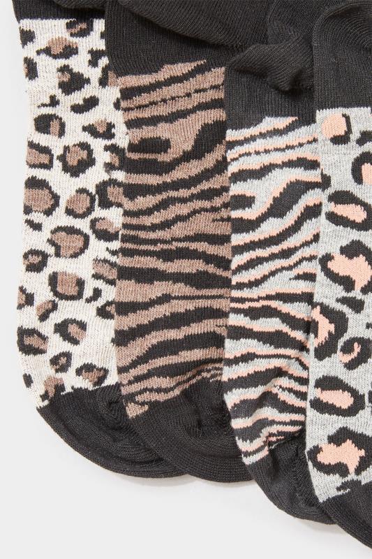 4 PACK Black Animal Print Footbed Socks