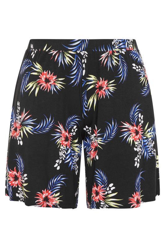 Plus Size  Black Palm Jersey Shorts