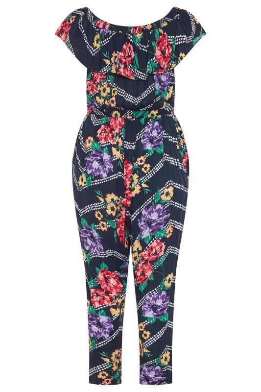 Navy Floral Chevron Print Bardot Crinkle Jumpsuit_BK.jpg