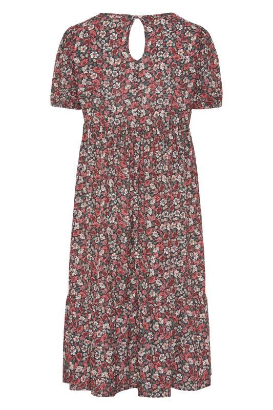 YOURS LONDON Red Ditsy Floral Smock Midi Dress_BK.jpg