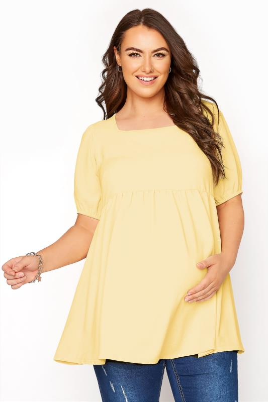 Plus Size  BUMP IT UP MATERNITY Yellow Square Neck Smock Top