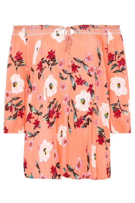 Coral Pink Floral Print Bardot Gypsy Top