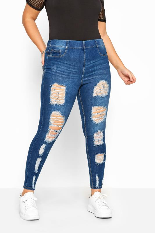 Jeggings Tallas Grandes Indigo Extreme Distressed JENNY Jeggings
