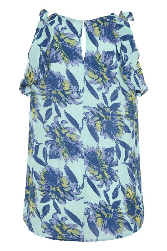 Blue Floral Frill Sleeve Top_BK.jpg