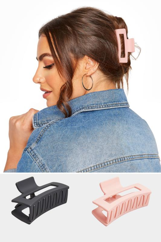 Yours 2 PACK Pink and Black Hair Clips