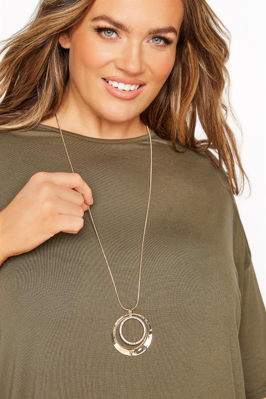 Plus Size  Gold Diamante Circle Long Necklace