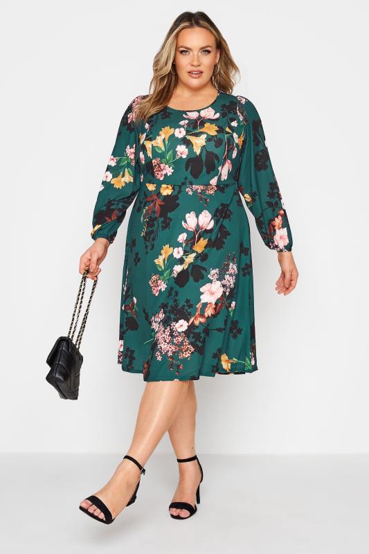 dla puszystych YOURS LONDON Green Floral Midi Dress