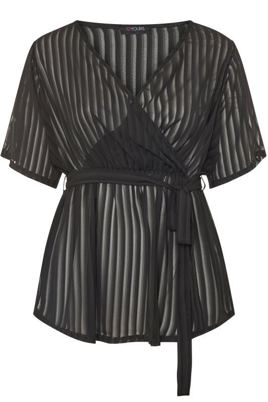 Black Sheer Stripe Chiffon Wrap Top