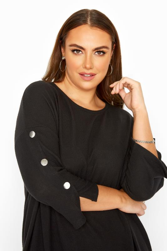Plus Size  Black Mock Button Soft Knitted Top