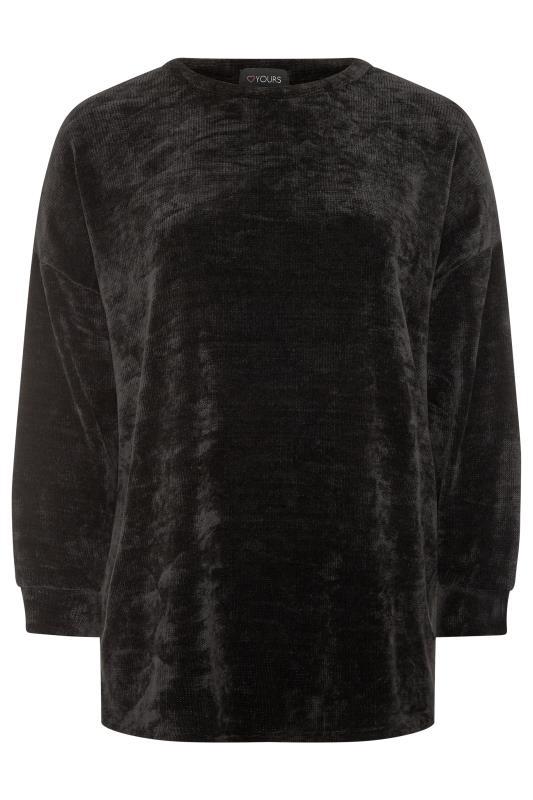 Black Chenille Drop Shoulder Co-ord Sweatshirt