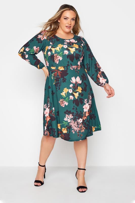 YOURS LONDON Green Floral Midi Dress_B.jpg