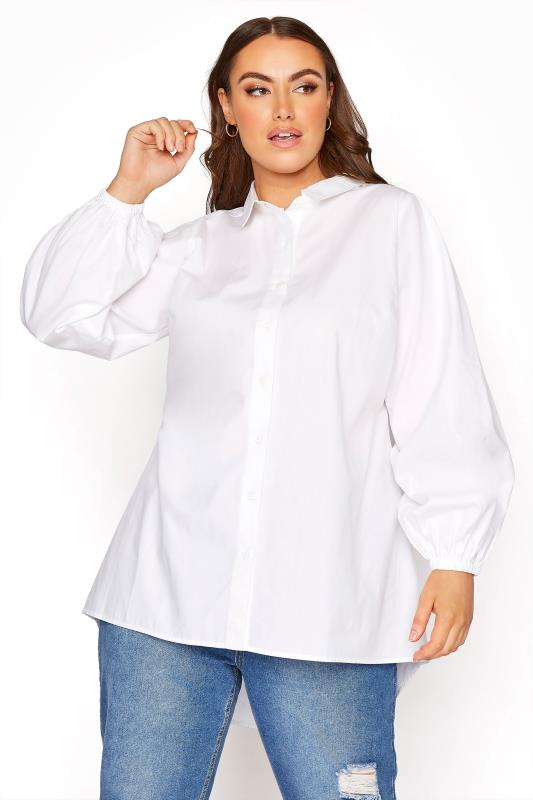 YOURS LONDON White Balloon Sleeve Cotton Shirt