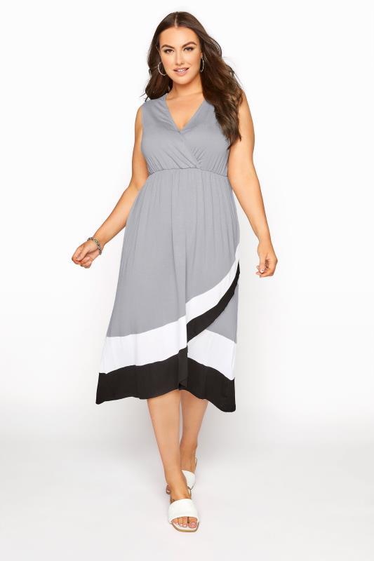 Großen Größen  Grey Colour Block Plunge Wrap Midaxi Dress