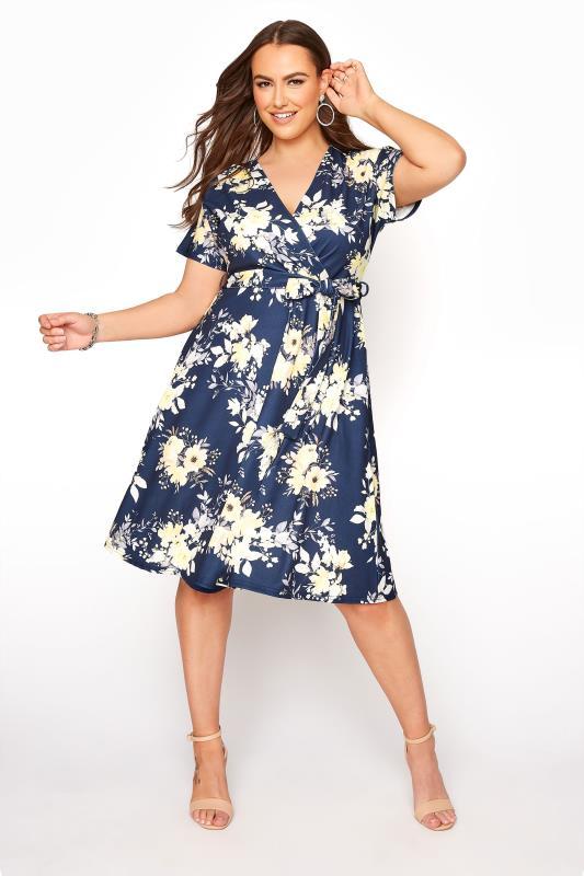 YOURS LONDON Navy Floral Skater Dress