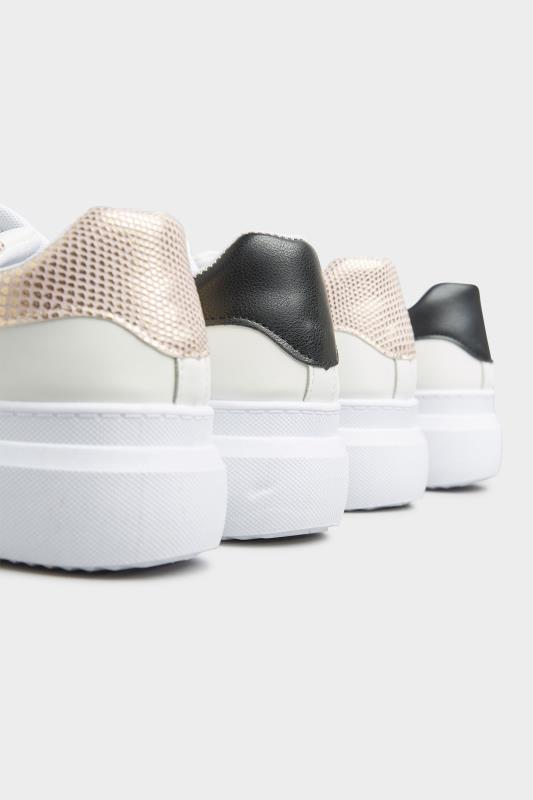 LIMITED COLLECTION White and Rose Gold Flatform Trainer In Wide Fit_F.jpg