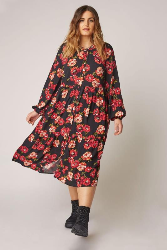 THE LIMITED EDIT Black Floral Smock Tiered Shirt Dress_B.jpg