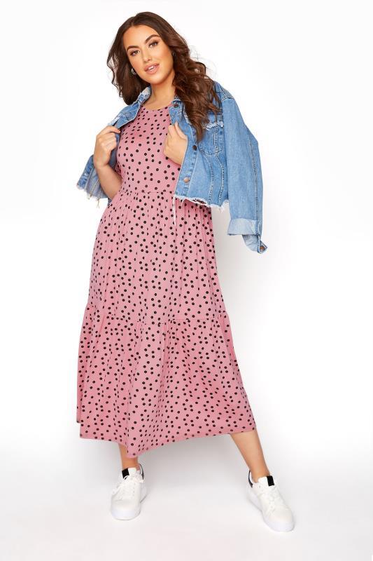 Pink Spot Print Puff Sleeve Midaxi Dress