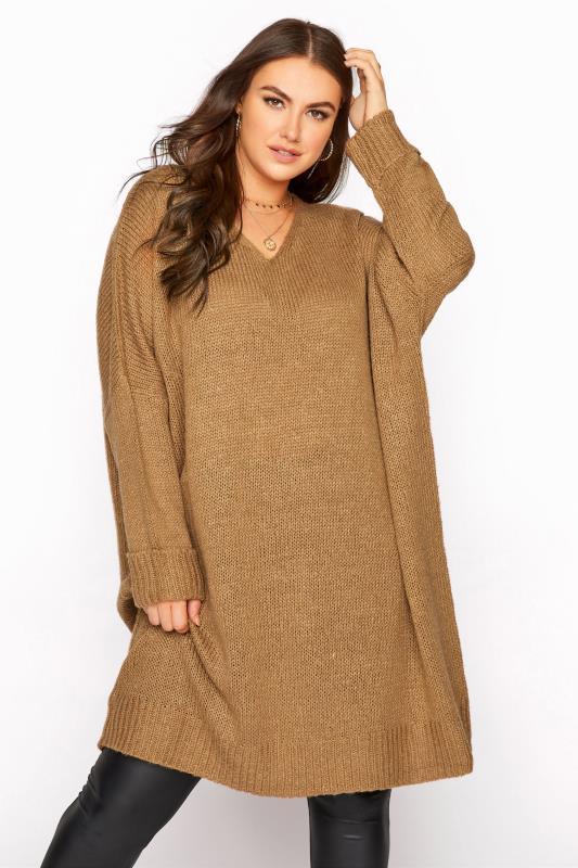 Tallas Grandes Camel Drop Sleeve Knitted Jumper Dress