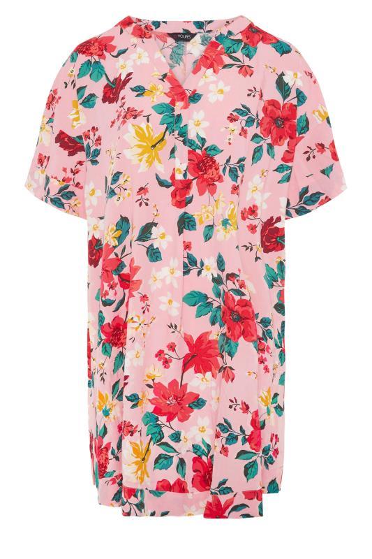 Pink Floral Notch Neck Throw On Dress_f.jpg