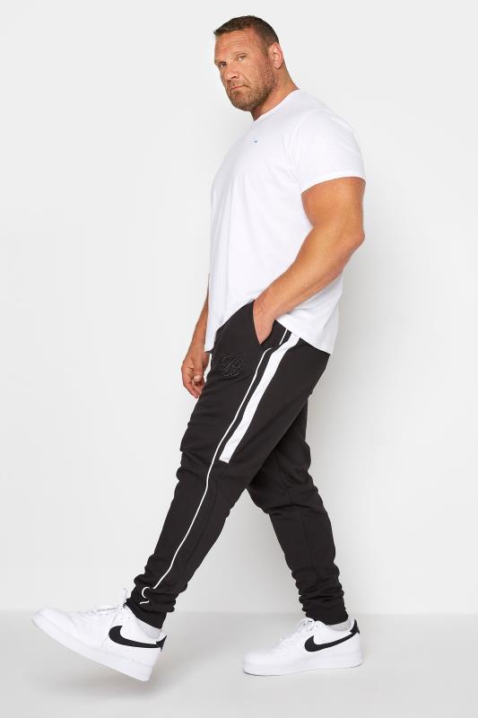 Plus Size  D555 Black Couture Side Stripe Joggers