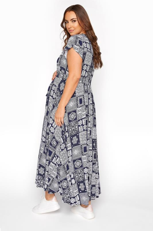 BUMP IT UP MATERNITY Dark Blue Tile Print Maxi Dress_C.jpg